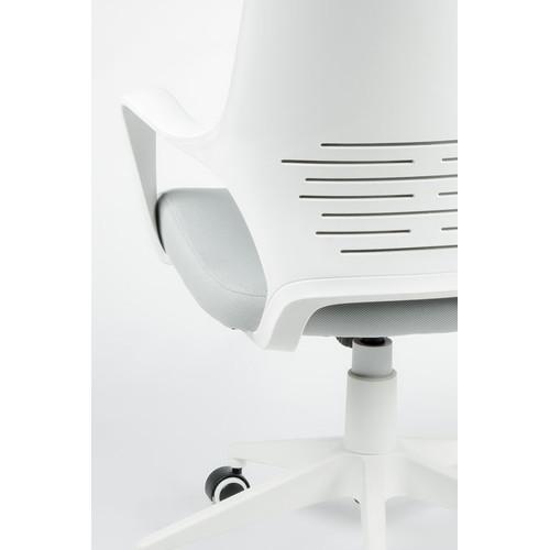 Кресло для руководителя в офис NORDEN IQ белый пластик/серая ткань
