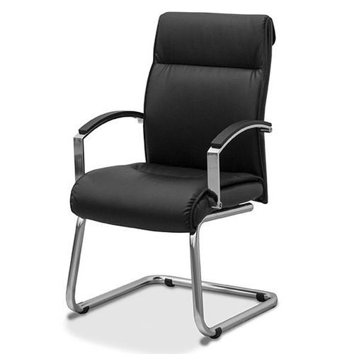 Офисное кресло для посетителей Аполло натуральная кожа с компаньоном / черная