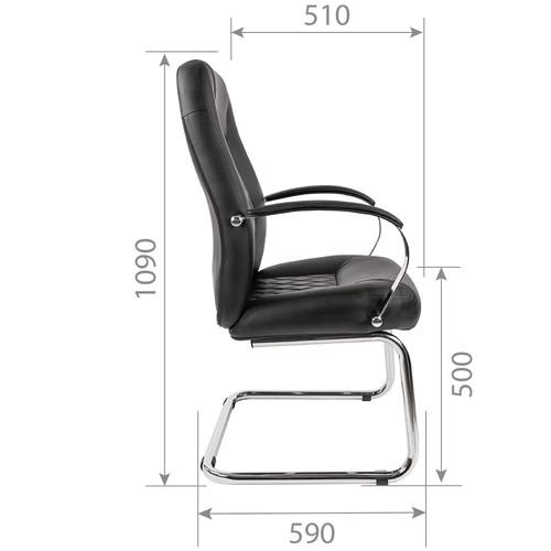 Офисное кресло для посетителей CHAIRMAN 950V черная экокожа